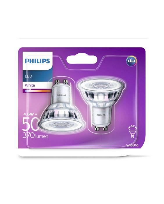 2x Philips LEDspot GU10 PAR16ND 4.6W 830 370lm (Classic)   Warmweiß - Ersatz für 50W